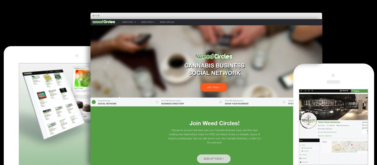 Screen shot image of WeedCirles website