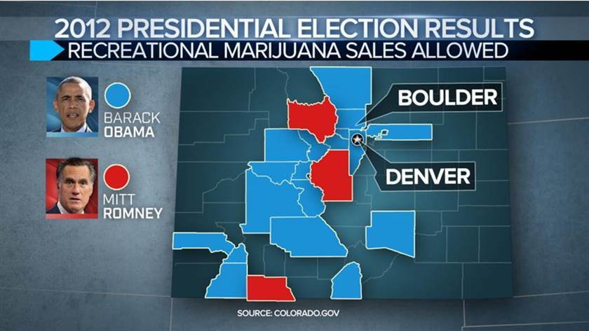 Image of 2012 Presidential election results tied to marijuana legalization in Colorado