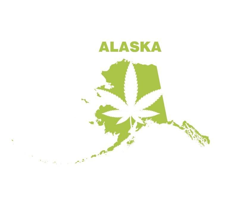 Image of Alaska map with marijuana leaf