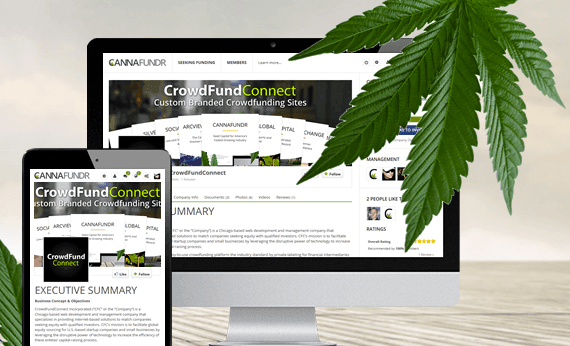 Image of online cannabis funding website & mobile app