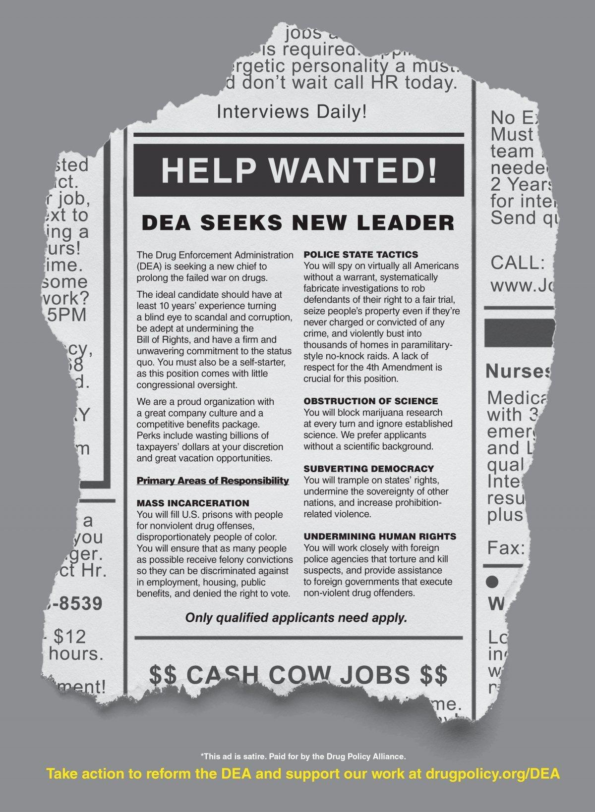 Image of ad for new DEA chiefs primary responsibilities -- including mass incarceration, police state tactics, obstruction of science, subverting democracy and undermining human rights.