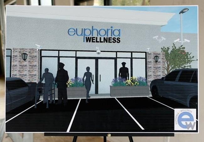 An exterior schematic of Euphoria Wellness in Las Vegas. Image L.E. Baskow via Las Vegas Sun.