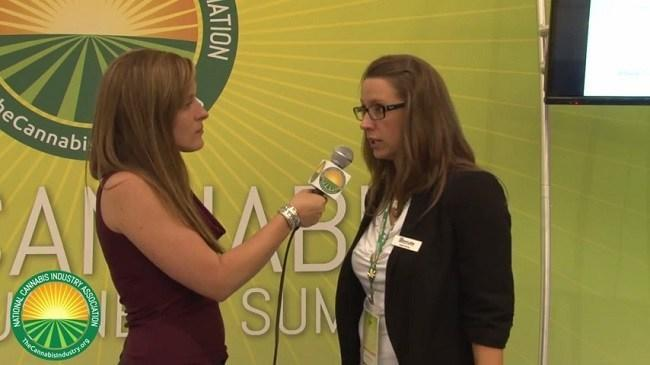 Genifer Murray of CannLabs being interviewed at the NCIA Cannabis Business Summit, June 2014. Image via NCIA