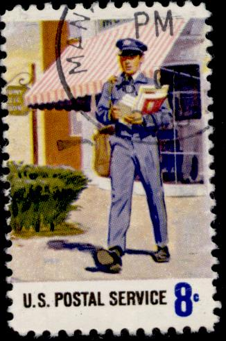 Mailman on 1973 U.S. stamp. Image via Wikimedia Commons