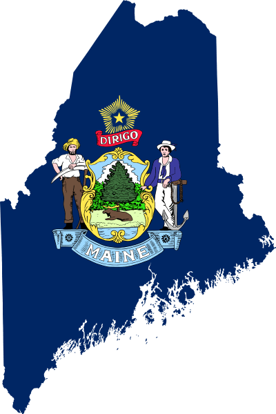 Maine map and state flag. Image: Darwinek via Wikimedia Commons