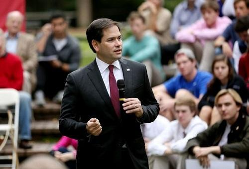 Republican presidential candidate Marco Rubio during an appearance at the College of Charleston.  Image: Grace Beahm, Post and Courier