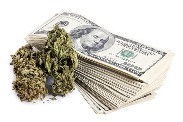 Image of marijuana and lots of money