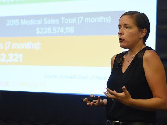 Taylor West, deputy director of the National Cannabis Industry Association,  spoke at Nashville NERVE conference showing the latest data on the marijuana industry on Friday, Sept. 18, 2015. (Photo: Shelley Mays/The Tennessean)