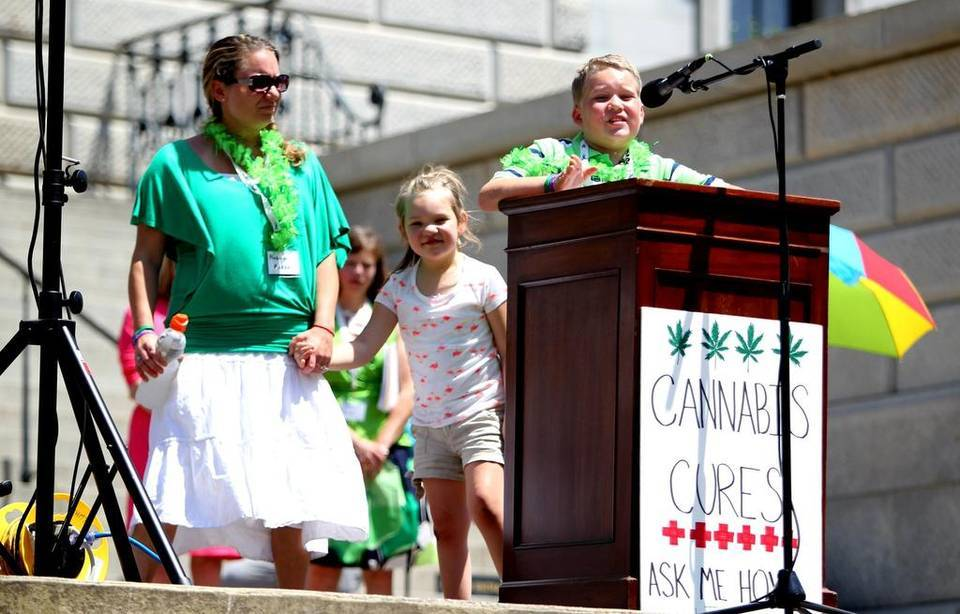 Image of child medical marijuana activists speaking in South Carolina.
