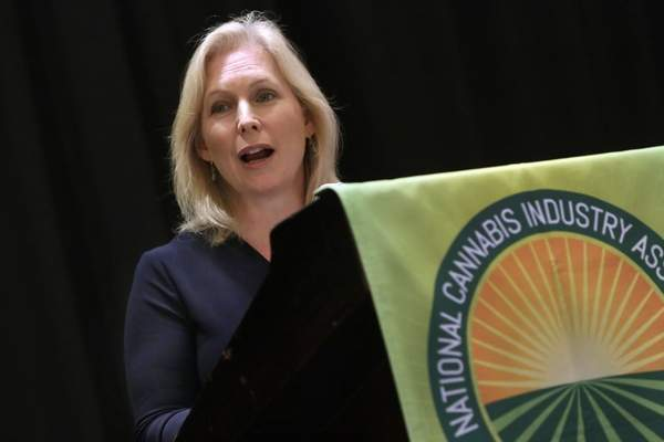 U.S. Sen. Kirsten Gillibrand, D-NY, addresses the National Cannabis Industry Association meeting, in New York, Monday, Sept. 21, 2015. AP Photo: Richard Drew via OneidaDispatch.com