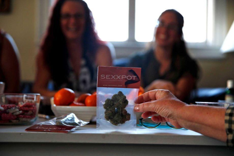 Image of women at a cannabis goods party with SexxPot