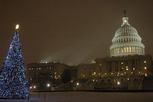 U.S. Capitol after Christmas tree lighting ceremony, 2007. Image:  Office of Senator Patrick Leahy via Wikimedia Commons