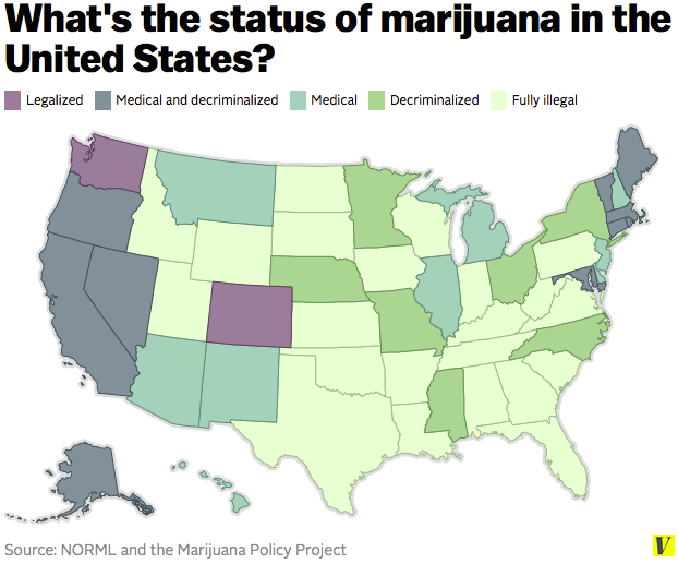 Image of map showing Marijuana law by state, March 2015